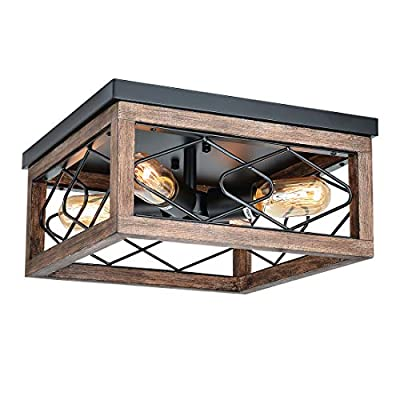 Eyassi Flush Mount Ceiling Lights, Farmhouse 4-Light Wooden Close to Ceiling Lighting Fixtures Black Ceiling Lamp for Kitchen Island Living Room Bedroom Hallway Laundry Entryway