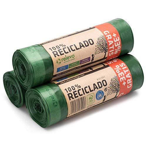 Relevo 60 Stück Mülltüten 30L - 100% Recycelt Müllsäcke