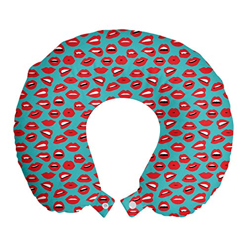 ABAKUHAUS Baiser Oreiller Cervical de Voyage, Rétro Femme Rouge à lèvres, Accessoire en Mousse à Mémoire pour Voyage, 30 cm x 30 cm, Sarcelle d'hiver Rouge Blanc