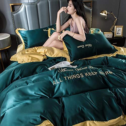 funda nordica cama 90,Juego de cuatro piezas de seda de hielo de doble cara, funda de edredón para dormir desnudo sedoso, sábanas de seda lavadas y ropa de cama fresca de verano-D_Cama de 1,8 m