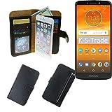 K-S-Trade Schutzhüll Für Motorola Moto E5 Plus Dual-SIM Schutz Hülle Portemonnaie Hülle Phone Cover Slim Klapphülle Handytasche E Handyhülle Schwarz Aus Kunstleder (1 STK)