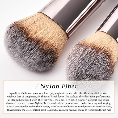 Lurrose 12 brosses de maquillage de haut niveau nylon fibre de bois poignée d 'outils cosmétiques