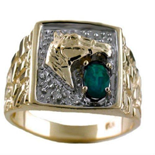 RYLOS Anillos para hombre de oro amarillo de 14 quilates – Anillo de esmeralda y diamante para hombre, anillo de caballo, anillo de 6 x 4 mm, color piedra de piedra preciosa para hombres y hombres