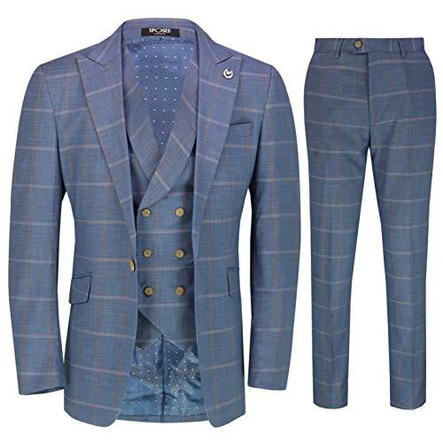 Xposed Männer Light Blue Windowpane Check 3 Stück Anzug Retro Vintage Tailored Fit[SUIT-DRV8188-12-BLUE-42]