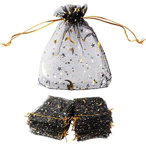 100 Bolsas de Organza Bolsitas Tul con Estrellas y Lunas 12 x 9cm Saquitos Arroz Regalo Joyas Caramelo Dulces Recuerdo Favores Detalles para Navidad Boda Fiesta Bautizo con Cintas Negro Dorado