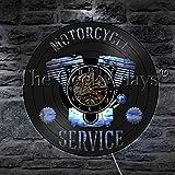 LTOOD 1 Pièce Moto Service Signe d'affaires LED Lampe De Table Moto Réparation Atelier De Vinyle Disque Horloge Murale Garage Décor Sommeil Lampe