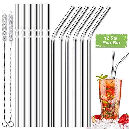 LessMo 12 STK. Edelstahlstrohhalme, Wiederverwendbare Metallstrohhalme mit 2 Reinigungsbürsten für Smoothie, Milchshake, Cocktail und Heißgetränk