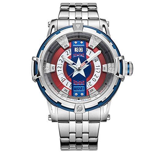 Towel Rings Marvel Avengers Reloj para Hombre Cuarzo para Hombre Cinturón De Capitán América Tendencia Informal Calendario De Personalidad Reloj Impermeable Relojes De Pulsera
