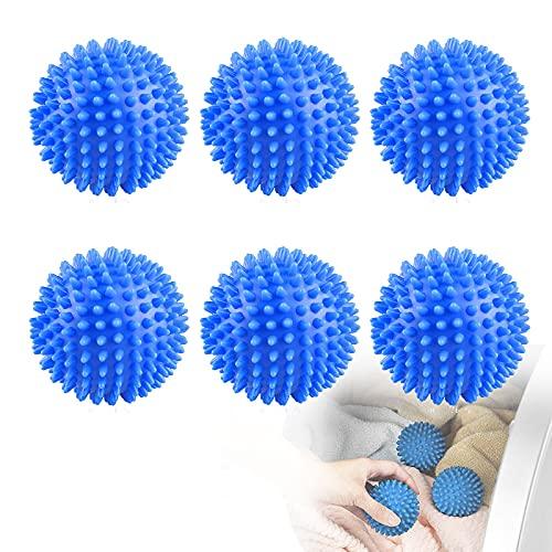 Trocknerbälle für Wäschetrockner, 6 Stück Trocken Balle, Kugeln für Flauschigere Wäsche, Wäschetrockner Ball, Trocknerbälle Daunen für Flauschigere Wäsche, Waschkugel für Waschmaschine(Blau)