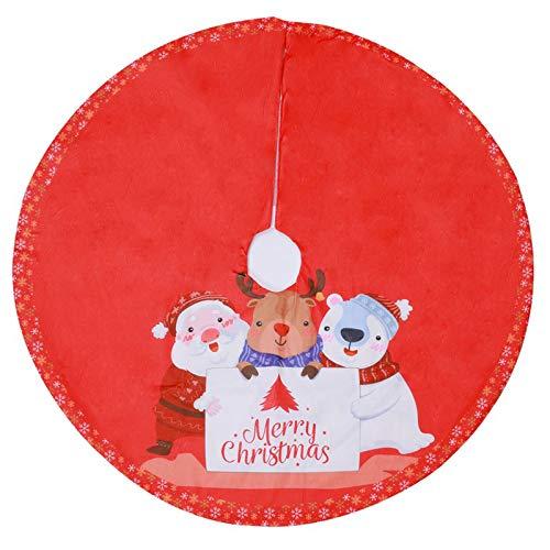 Choinka Spódnica 90 cm / 35.4in Poliester Krótki Pluszowy Elk Santa Claus Choinki Maty Fartuch Dekoracji Na Wakacje Party Wystrój Domu,Red