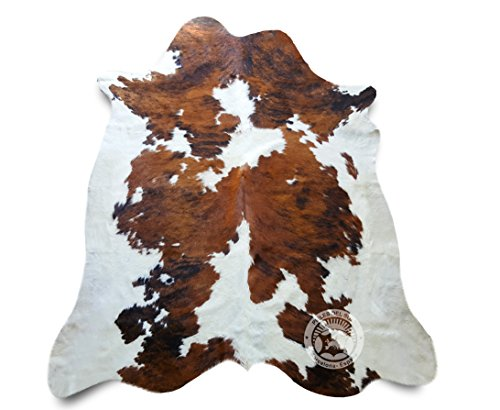 Sunshine Cowhides Teppich aus Kuhfell, Farbe: Tricolor Größe 240 x 200 cm, Premium - Qualität von Pieles del Sol aus Spanien