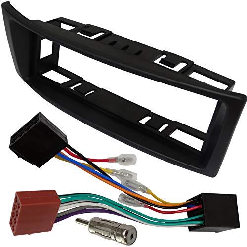 AERZETIX - Kit de Montaje de Radio de Coche estándar 1DIN - Marco, Cable Enchufe y adaptadores de Antena - Negro - C2346A