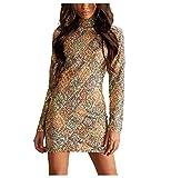 DressUWomen Premium Sparkle Sequin Shiny Slim Fitting Dress Short Dresses Champagne L