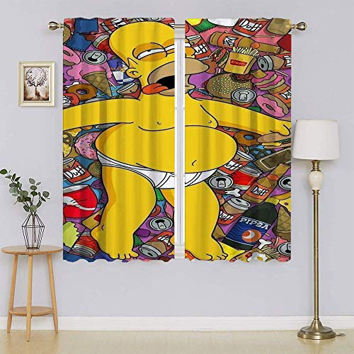 The Simpsons Movie Poster Darkening Curtains,Hinder Light Curtain Decorative Energy Efficient Curtain for Bedroom W55' x L72'