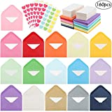 JPSOR 160pcs Mini Envelopes 16 Assorted Colors, Self-Adhesive Envelopes with White Blank Business Cards, Business Card Envelopes 4 x 2.7 Inches with 168 Heart Stickers