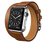 SUPSUN Compatible for Iwatch Band, Genuine Leather Iwatch Bands Series 1 2 3 4 for Women Designer Replacement Band Compatible with Iwatch Series 4/3/2/1 (D-Brown, 38mm/40mm)