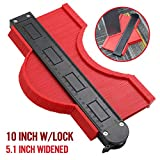 10 Inch Widen Contour Gauge Duplicator, Contour Tool Profile Guide for Woodworking Project Copy Layout Shape and Tracing Pipe Tile Cutting Measuring Tool, Extra Measure Depth (Red)