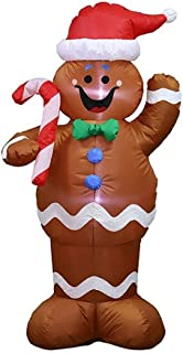 HOBBMS Christmas Inflatable Christmas Gingerbread Man Cookie with LED Lights Indoor Outdoor Yard Lawn Decoration - Cute Fun Holiday Blow Up Party Display Halloween, Birthday Party Outdoor Activities