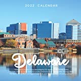 """Delaware 2022 Calendar: 12-month Calendar - Square Small Gorgeous Calendar 7x7"""" for planners with large grid for note"""
