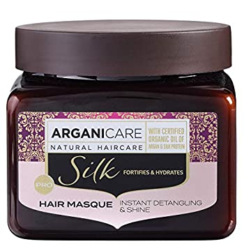 Arganicare Silk Protein Hydrating & Conditioning Hair Mask Treatment with Organic Moroccan Argan Oil for Dry and Damaged Hair Repair 17 fl Oz.