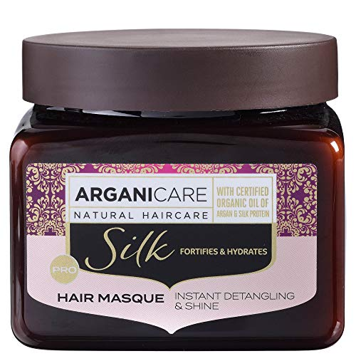 Arganicare Silk Protein Hydrating & Conditioning Hair Mask Treatment with Organic Moroccan Argan Oil for Dry and Damaged Hair Repair 17 fl. Oz.