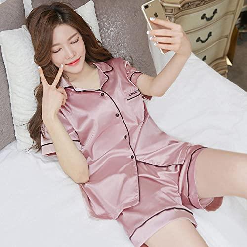 Ladies Comfy Pijamas Mujeres Soft,Pijama de Verano, Traje de Servicio a Domicilio de Seda de simulación de Seda de Hielo de Manga Corta-XXXL_A0 Rosa,Larga Franela Conjunto de Pijama