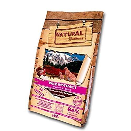 Natural Greatness - Pienso para Gatos Natural Sin Cereales Wild Instinct Gatitos y Adultos con Malta para prevenir Bolas de Pelo Saco 6kg | ANIMALUJOS