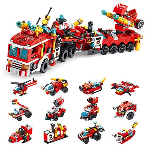 Holiky Building Toys for Kids, STEM 25-in-1 Fire Truck Toy Set for Boys, Engineering Building Bricks Construction Vehicles Kit Best Gifts for 6-12 Year Old Kids