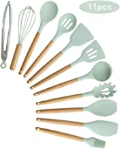 Agzsovep 11PCS Cooking Shovel Spoon Wooden Handle Silicone Kitchen Utensil Set Storage Bucket