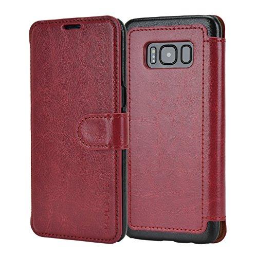 Mulbess Funda Samsung Galaxy S8 [Libro Caso Cubierta] [En Capas de Billetera Cuero de la PU] con Tapa Magnética Carcasa para Samsung Galaxy S8 Case, Vino Rojo