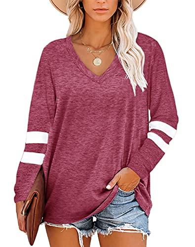 CNKWEI WOMENS 긴 소매 원형 목 튜닉 탑스 기본 단색 캐주얼 느슨한 셔츠