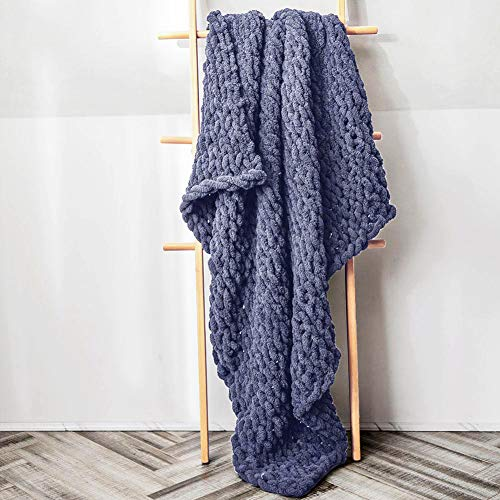 Chunky Knit Blanket Throw,PUSUNAS 40x60 Inch Large Bulky Hand knitted Blanket by Chenille Cable Yarn...