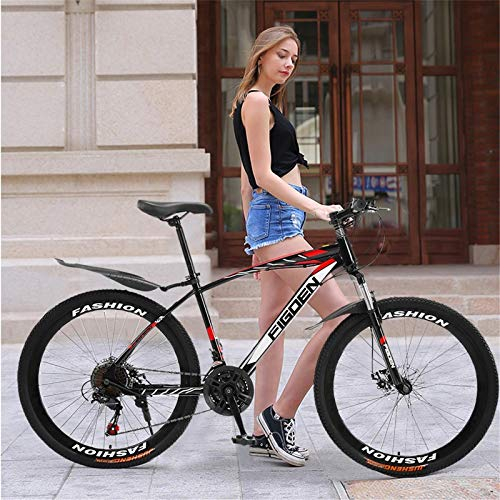 Cagogo Mountain Bike for Adult and Youth, 26 Inch Mountain Bike with 21 Speed Dual Disc Brakes Full Suspension Non-Slip