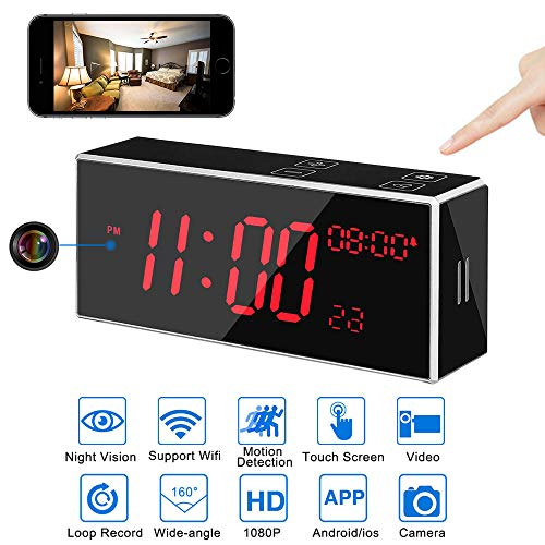 Hidden Camera WiFi Alarm Clock,LITSPED Spy Camera, 1080P Hidden Camera with 33FT Night Vision, 160°Angle Nanny Cam,Motion Detection,Record Sound,App Live Control and Viewing Security Camera for Home