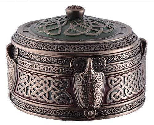 Veronese 708-6673 runde Odin Box bronziert 10 cm Schmuckdose Dose