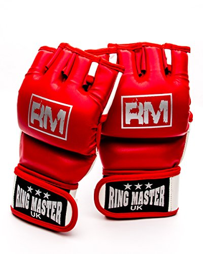 RingMasterUK Adults Synthetic Leather MMA UFC Grappling Gloves (Red, Large)