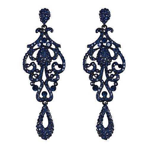 EVER FAITH Mujer Cristal Austríaco Boda Vintage Flor Patrón Ahuecado Pendientes Azul Tono Negro
