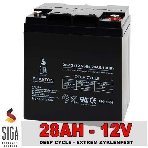 Akku 28Ah 12V AGM Gel Batterie Solar Rasenmäher Golf Caddy 26Ah 27Ah 33Ah Bleigel