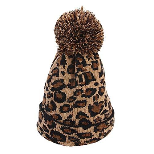 QCLU Sombrero de Invierno Leopardo Muchachas de Las Mujeres de Lana de Punto Beanie con la Piel de imitación de Pom Pom, Paquete de2 (Color : A)