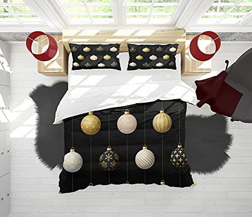 SAIAOS Funda nórdica,Bola Colgante Creativa de la decoración de la Navidad del Estilo de los Ornamentos del voleibolsuave Dormitorio de Hotel Lujo Juego de Cama de 3 Piezas con 2 Fundas de Almohada