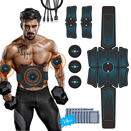 Abdominal Stimulator, iThrough Abs Stimulator Muscle Toner - Rechargeable Muscle Trainer Ab Maker for Men & Women,Electric Stimulators Fitness with 16Pcs Abs Gel Pads