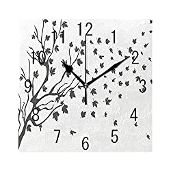 FUWANK Square Wall Clock Battery Operated Quartz Analog Quiet Desk 8 Inch Clock, Maple Leaf Silhouettes Botanical Branches Autumn Illustration