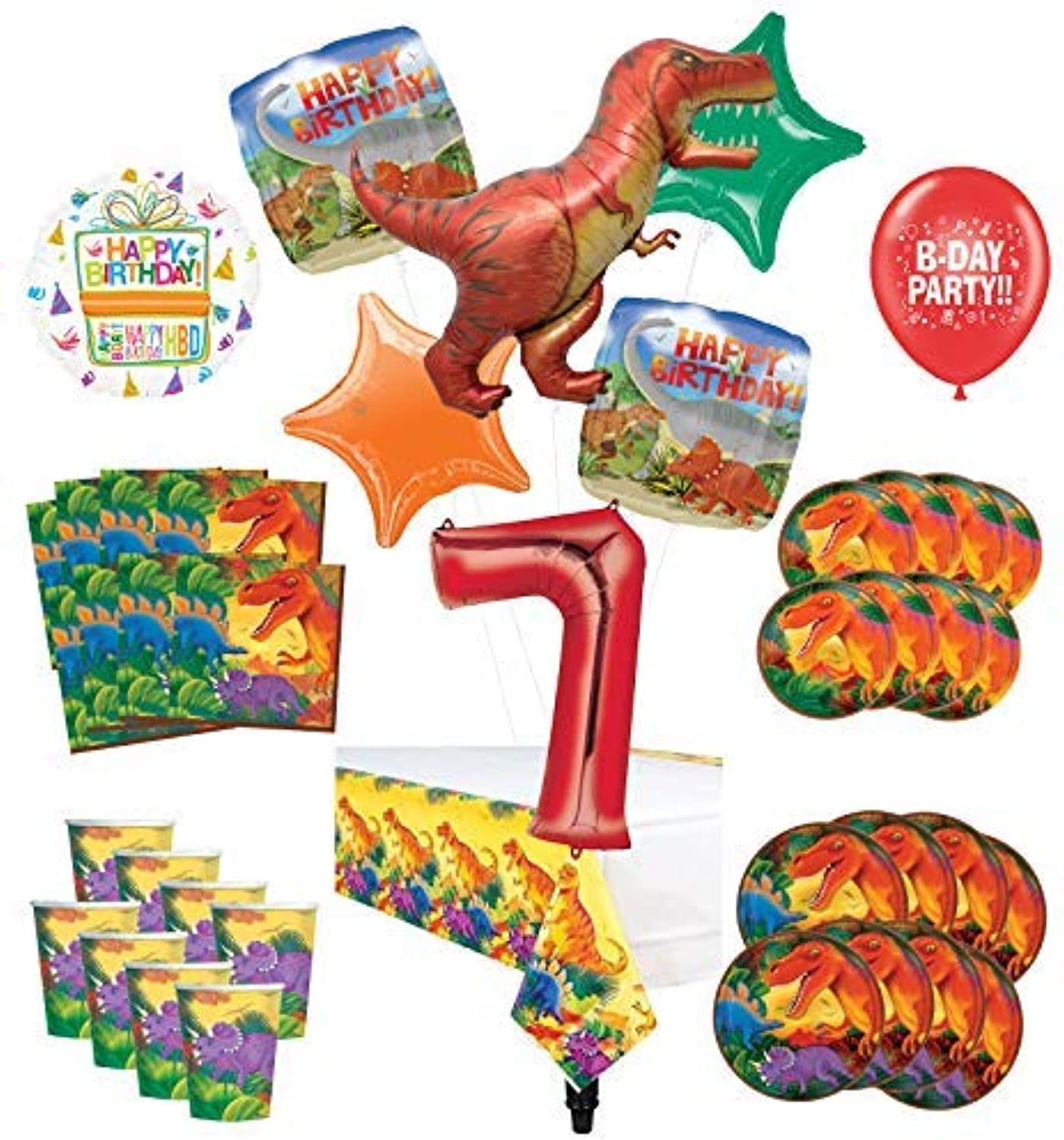 Mayflower Products Dinosaur 7th Birthday Party Supplies 8 Guest Decoration Kit and Prehistoric TRex Balloon Bouquet