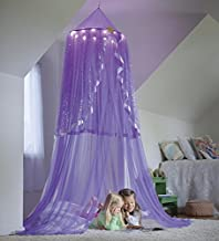 Magic Cabin Starlight Hanging Play Tent Bed Canopy with LED Lights, 24'' Diam (Top) x 7-ft H - Purple
