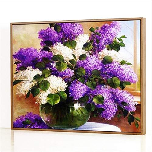 Diy Digitale Olieverfschilderij,Wit-paarse glazen vaas Schilderen Door Cijfers,Linnen Canvas ,Foto Voor Binnendecoratie - 40x50cm(Houten frame)