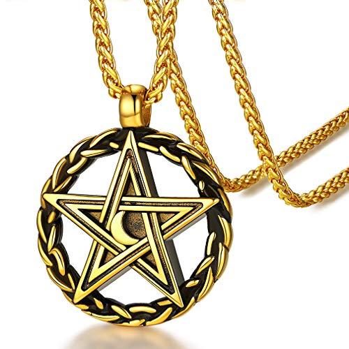 FaithHeart Colgante Redondo Nudos Célticos Pentagrama Estrella y Luna Collar Salomón Acero Inoxidable 316L Oro Amarillo 18K Satan Joyería Milagrosa de Hombre Mujer