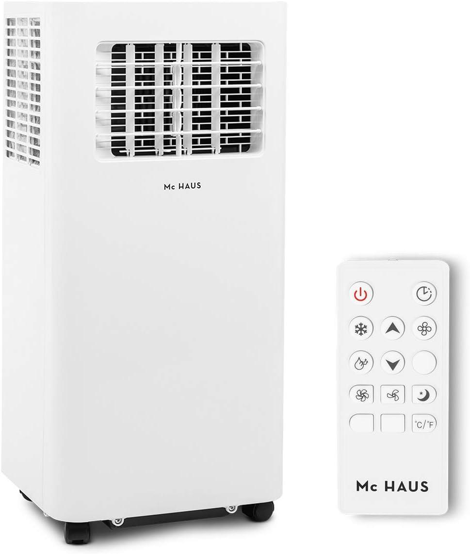 Mc Haus ARTIC-16 - Aire Acondicionado Portátil 7000BTU Pingüino Clase A Potente, 3 en 1 Refrigeración, Ventilación y Deshumificador, Mando a Distancia, Hasta 20 m2, 290 m3/h, Blanco