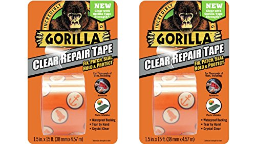 Gorilla 6015002-2 Clear Repair Duct Tape, 1.5  x 5 yd, (Pack of 2), 2 Pack