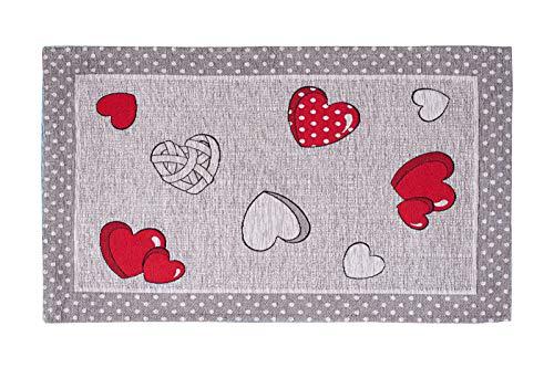 Alfombra corazones Jacquard con diseño de chenilla, modelo con fondo antideslizante, alfombra para dormitorio, salón, cocina, fabricada en Italia ( 57 x 240 cm)