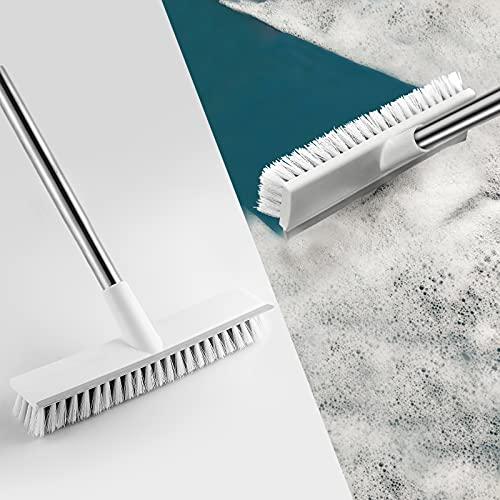 Snpurdiri Cepillo de suelo con mango largo, cepillo limpieza ducha, suelo, 2 en 1, para azulejos, baño, terraza, cocina, pared y cubierta